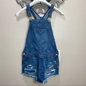 AE Distressed overall Denim shorts size M